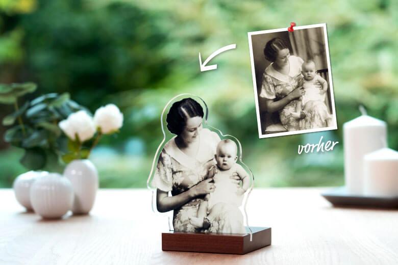 Bearbeitung von historischen Fotos als Acrylfigur